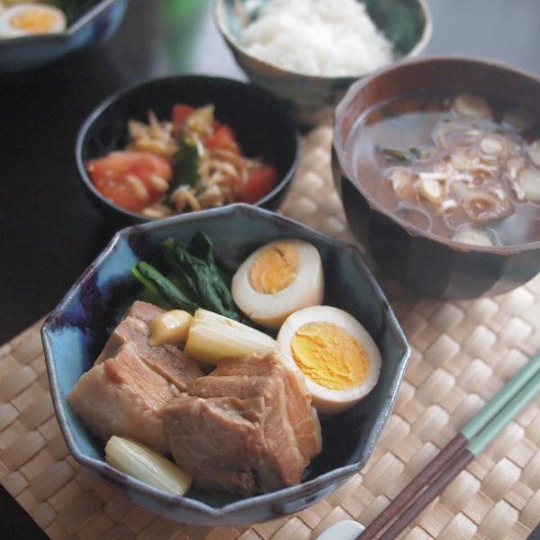 豚の角煮の朝ごはん